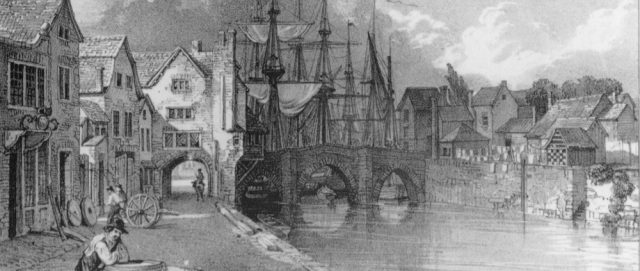 Old Bridgwater Bridge, lithograph by John Chubb © Bridgwater Heritage Group